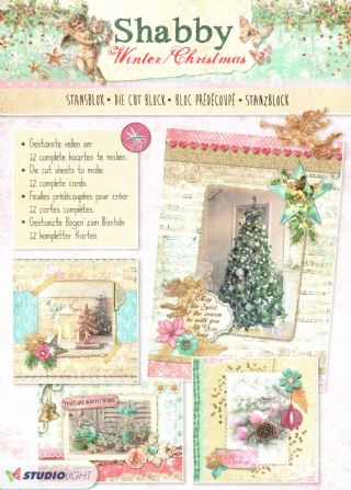 Shabby Chic Winter Christmas 3D Die Cut Decoupage A4 Block  By Studio Light
